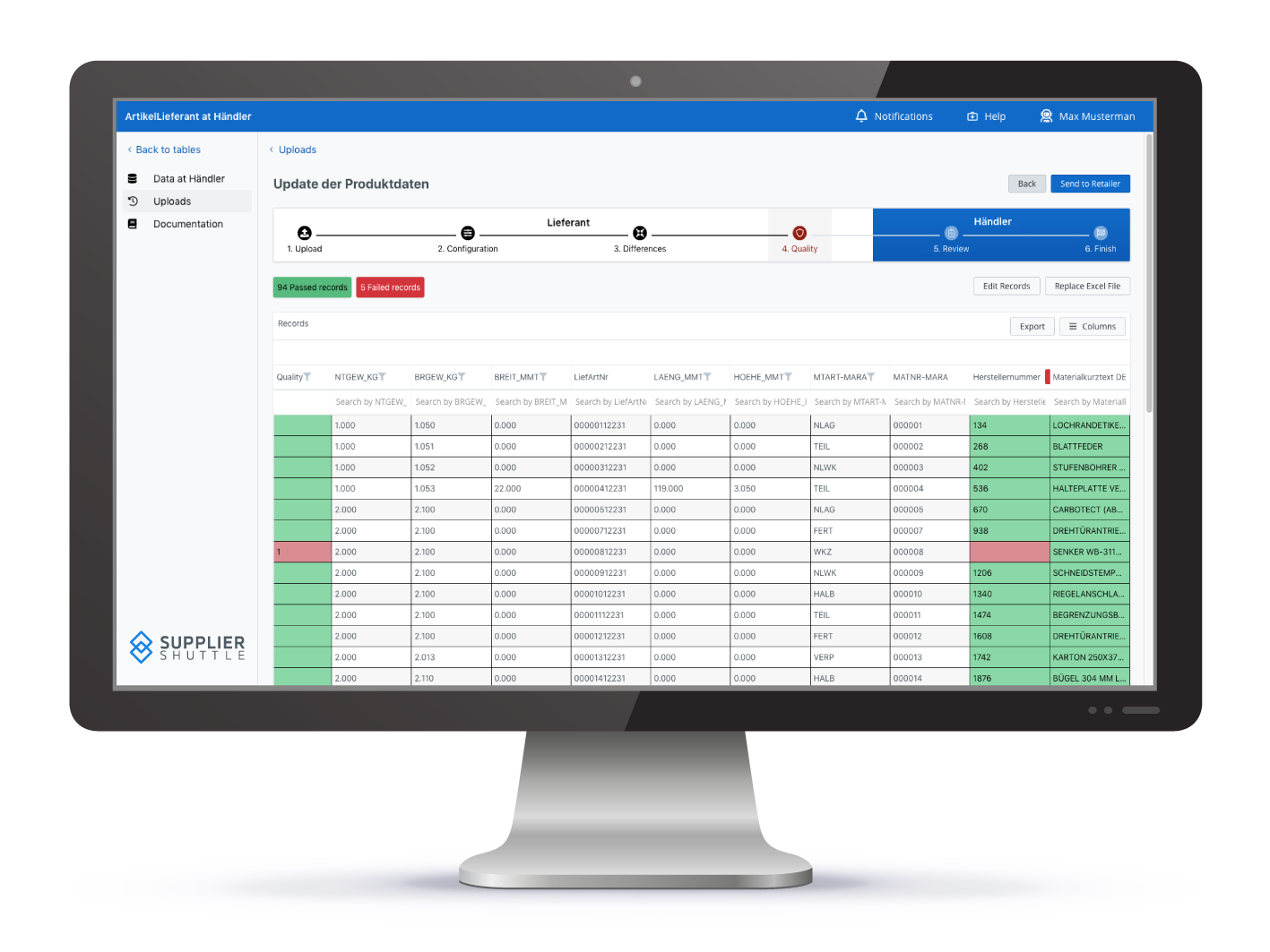 In dem übersichtlichen Layout der webbasierten Anwendung werden nicht nur fehlerhafte Informationen direkt hervorgehoben, sondern auch alle Änderungen von Datensätzen nach der Aktualisierung von Produktdaten visualisiert. Dies vereinfacht die Überprüfung und Nachvollziehbarkeit beim Datenupdate.