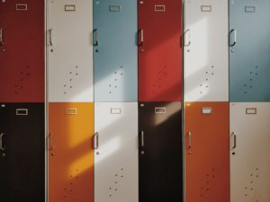 colorful lockers in a school